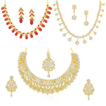 SUKKHI | Sukkhi Attractive LCT Gold Plated Austrian Diamond Necklace Combo Set of 3 for Women