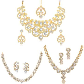 SUKKHI | Sukkhi Lovely Gold Plated Austrian Diamond Necklace Combo Set of 3 for Women