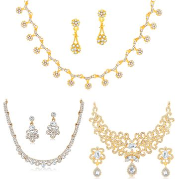 SUKKHI | Sukkhi Fascinating Gold Plated Austrian Diamond Necklace Combo Set of 3 for Women