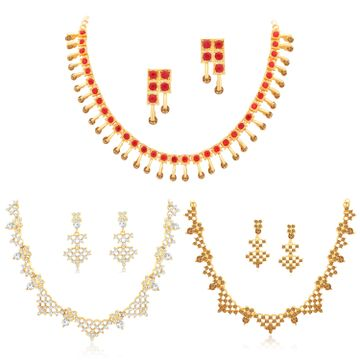 SUKKHI | Sukkhi Dazzling LCT Gold Plated Austrian Diamond Necklace Combo Set of 3 for Women