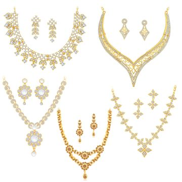 SUKKHI | Sukkhi Exclusive LCT Gold Plated Austrian Diamond Necklace Combo Set of 5 for Women