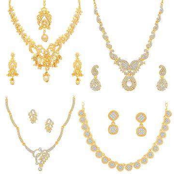 SUKKHI | Sukkhi Adorable Pearl Gold Plated Austrian Diamond Necklace Combo Set of 4 for Women