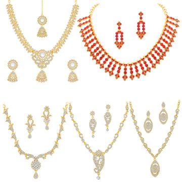 SUKKHI | Sukkhi Lavish LCT Gold Plated Austrian Diamond Necklace Combo Set of 5 for Women