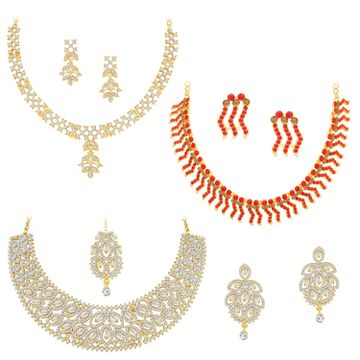 SUKKHI | Sukkhi Fabulous LCT Gold Plated Austrian Diamond Necklace Combo Set of 3 for Women