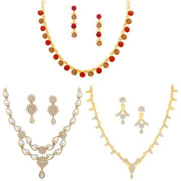SUKKHI   Sukkhi Glistening LCT Gold Plated Austrian Diamond Necklace Combo Set of 3 for Women