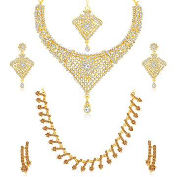 SUKKHI | Sukkhi Classy LCT Gold Plated Austrian Diamond Choker Necklace Combo Set of 2 for Women