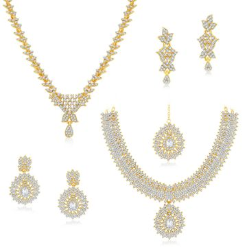 SUKKHI | Sukkhi Dazzling Gold Plated Austrian Diamond Necklace Combo Set of 2 for Women