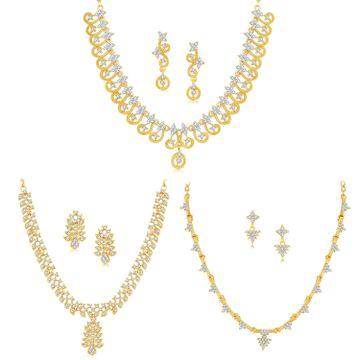 SUKKHI | Sukkhi Fashionable Gold Plated Austrian Diamond Necklace Combo Set of 3 for Women