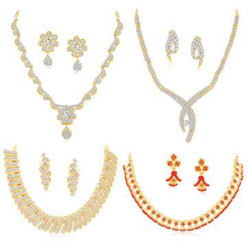 SUKKHI | Sukkhi Glittery LCT Gold Plated Austrian Diamond Necklace Combo Set of 4 for Women