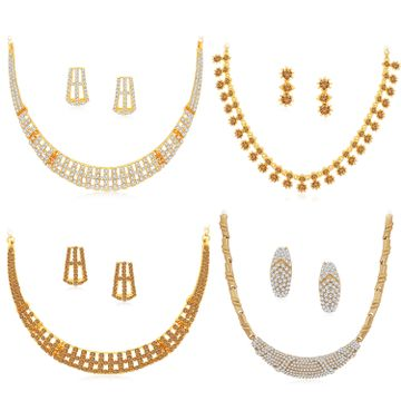 SUKKHI | Sukkhi Mesmerising LCT Gold Plated Austrian Diamond Necklace Combo Set of 4 for Women