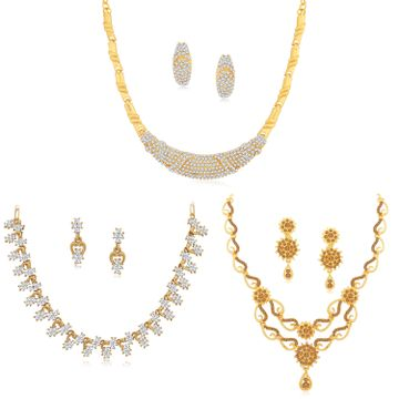 SUKKHI | Sukkhi Glittery LCT Gold Plated Austrian Diamond Necklace Combo Set of 3 for Women