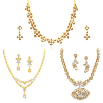 SUKKHI | Sukkhi Incredible LCT Gold Plated Austrian Diamond Necklace Combo Set of 3 for Women
