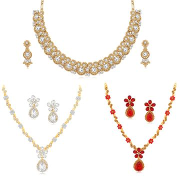 SUKKHI | Sukkhi Exotic LCT Gold Plated Austrian Diamond Necklace Combo Set of 3 for Women