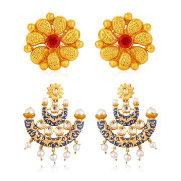 SUKKHI | Sukkhi Glorious Pearl Gold Plated Kundan Meenakari Set of 2 Earring Combo for Women
