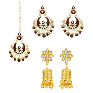 SUKKHI | Sukkhi Glimmery Pearl Gold Plated Kundan Meenakari Earring Maangtikka Combo Set of 2 for Women