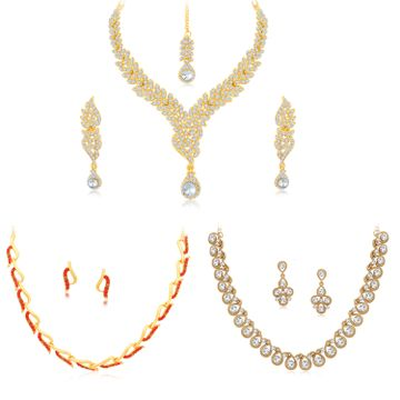 SUKKHI   Sukkhi Modern LCT Gold Plated Austrian Diamond Necklace Combo Set of 3 for Women