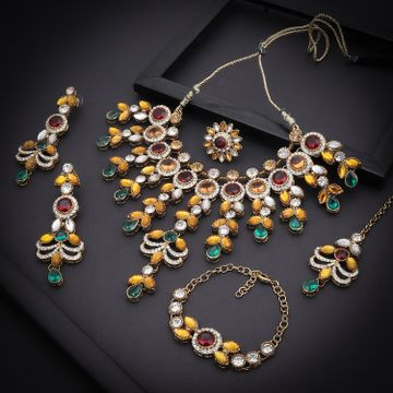 SUKKHI | Sukkhi Adorable Gold Plated Austrian Diamond & Color Stone Necklace Combo Set for Women