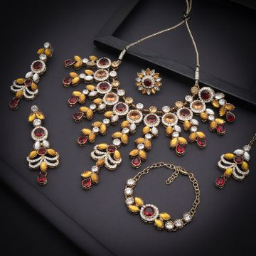 SUKKHI | Sukkhi Glorious Gold Plated Austrian Diamond & Color Stone Necklace Combo Set for Women