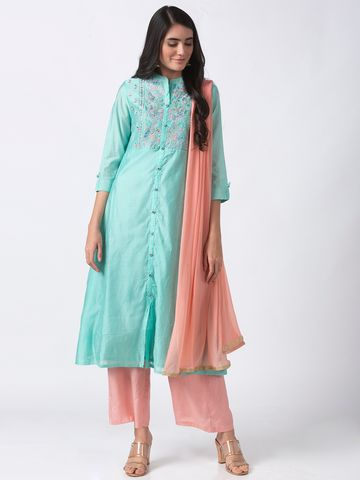 Ethnicity | Ethnicity Chanderi Sea Green Skd
