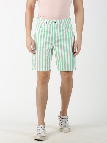 Blue Saint | Blue Saint Men's Striped Green Shorts