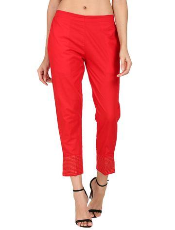 DEVS AND DIVAS | DEVS AND DIVAS Red Linen Zari Pant Trouser For Women