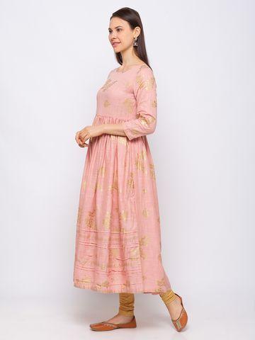 Ethnicity   Ethnicity Cotton Flared Women Pink Dress