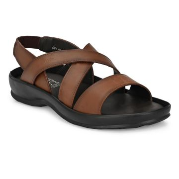 Hitz | Hitz Brown Casual Genuine Leather Sandal with Slip-On Fastening