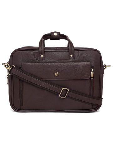 WildHorn   WildHorn 100% Genuine Leather Brown Laptop Bag for Men