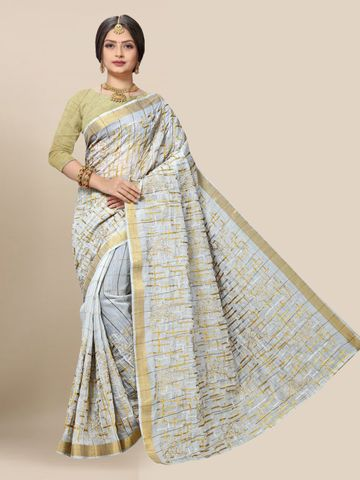 SATIMA | Latest Grey Embroidered Solid Cotton Blend Saree