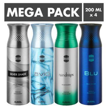 Ajmal | Ajmal Silver Shade & Avid & Raindrops & Blu Deodorant Spray- For Men (200 ml, Pack of 4)