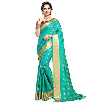 SATIMA | WOMEN'S TEAL SELF DESIGN PRINTED GEORGETTE SAREE