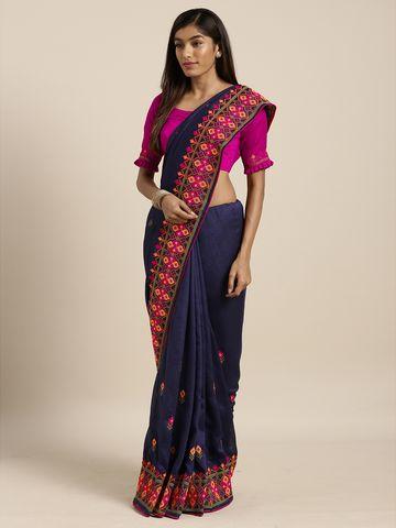 SATIMA | Satima NavyGeorgetteThread Embroidery Saree
