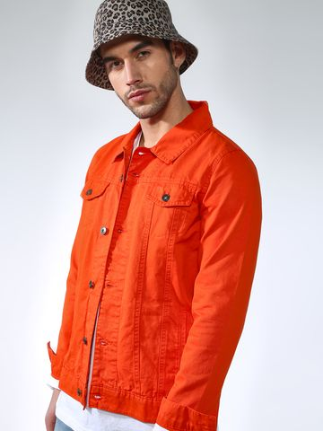 Blue Saint | Blue Saint Men's Orange Slim Fit Denim Jackets