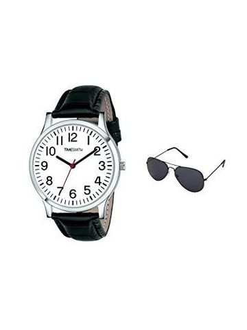 Timesmith | Timesmith Black Leather White Dial Watch For Men with Free Sunglasses CTC-001-wmg-002 For Men