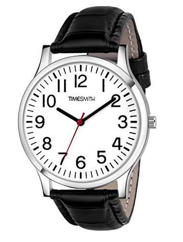 Timesmith | Timesmith Black Leather White Dial Watch For Men CTC-001 For Men