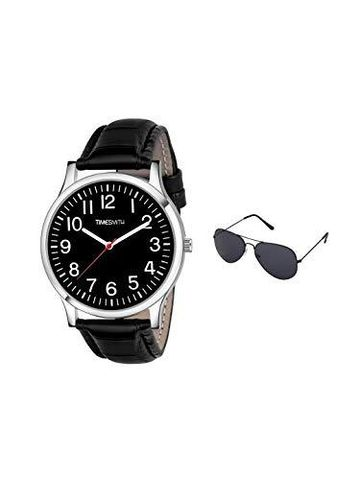 Timesmith | Timesmith Black Leather Black Dial Watch For Men with Free Sunglasses CTC-002-wmg-002 For Men