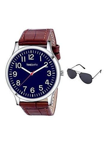 Timesmith | Timesmith Brown Leather Blue Dial Watch For Men with Free Sunglasses CTC-003-wmg-002 For Men