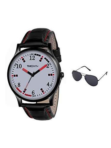 Timesmith | Timesmith Black Leather White Dial Watch For Men with Free Sunglasses CTC-005-wmg-002 For Men
