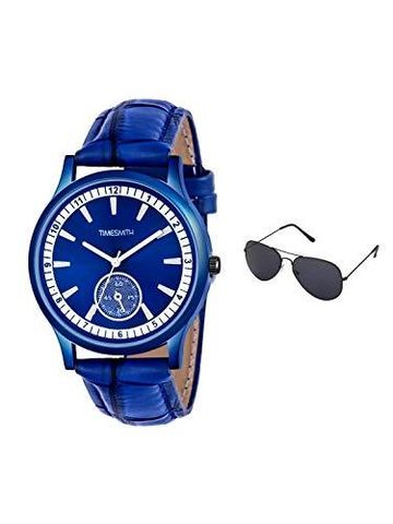 Timesmith | Timesmith Blue Leather Blue Dial Watch For Men with Free Sunglasses CTC-007-wmg-002 For Men