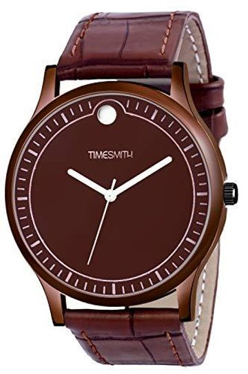 Timesmith | Timesmith Brown Leather Brown Dial Watch For Men with Free Sunglasses CTC-008-wmg-002 For Men