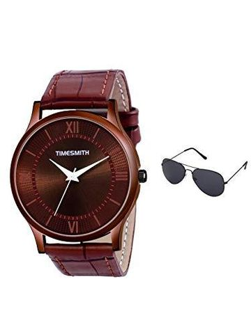 Timesmith | Timesmith Brown Leather Brown Dial Watch For Men with Free Sunglasses CTC-009-wmg-002 For Men