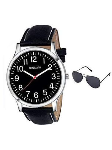 Timesmith | Timesmith Black Leather Black Dial Watch For Men with Free Sunglasses CTC-010-wmg-002 For Men