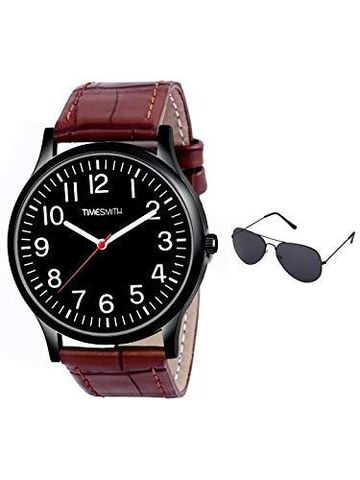 Timesmith | Timesmith Brown Leather Black Dial Watch For Men with Free Sunglasses CTC-011-wmg-002 For Men
