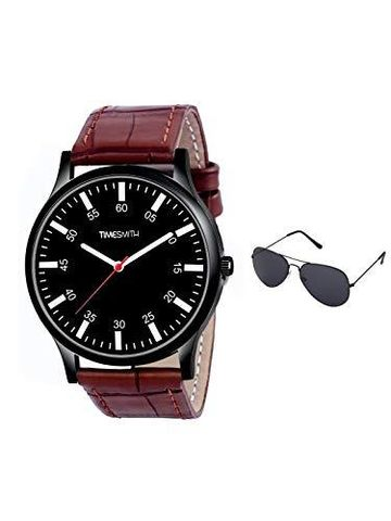 Timesmith | Timesmith Brown Leather Black Dial Watch For Men with Free Sunglasses CTC-012-wmg-002 For Men