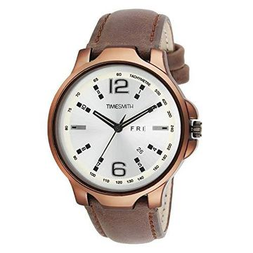 Timesmith | Timesmith Men White Leather Analogue Watch With Free Sunglasses TSC-031-WMG-002 White Onesize For Men