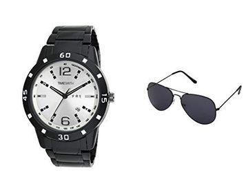 Timesmith | Timesmith Men White Analogue Watch with Free Sunglasses TSC-037-WMG-002 White Onesize For Men