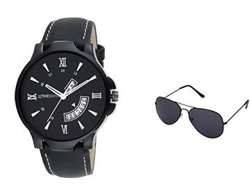 Timesmith | Timesmith Men Black Analogue Watch With A Free Aviator Sunglasses TSC-038-WMG-002 Black Onesize For Men