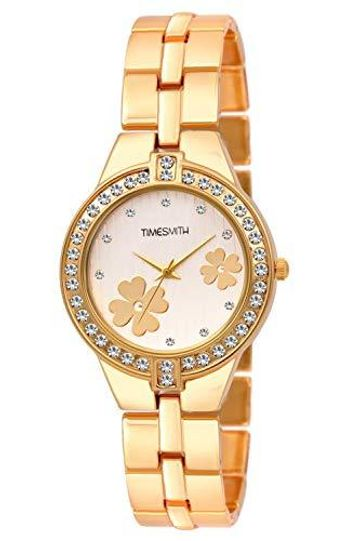 Timesmith | Timesmith White Dial Gold Stainless Steel Strap Branded Analog Watch for Women TSC-054 For Women