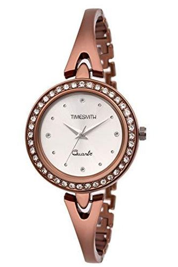 Timesmith | Timesmith White Dial Brown Stainless Steel Strap Branded Analog Watch for Women TSC-060 For Women