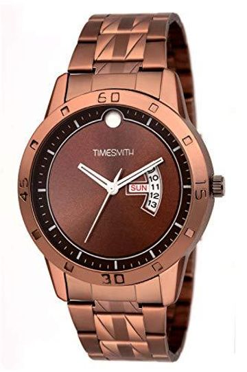 Timesmith | Timesmith Brown Dial Brown Stainless Steel Strap Branded Analog Watch for Men TSC-069 For Men